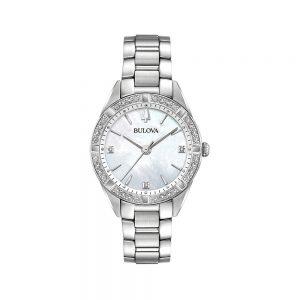 Bulova Orologio Donna Solo Tempo Diamond in Acciaio 96R228