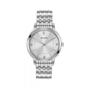 Bulova Orologio Donna Solo Tempo con Diamanti in Acciaio 96P183