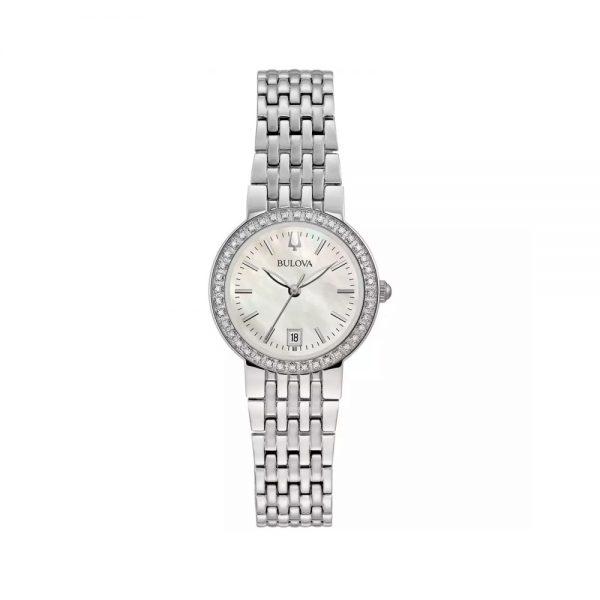 Bulova Orologio Donna Solo Tempo con Diamanti in Acciaio 96R239