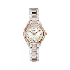 Bulova Orologio Donna Solo Tempo con Diamanti in Acciaio Rosa 98P200