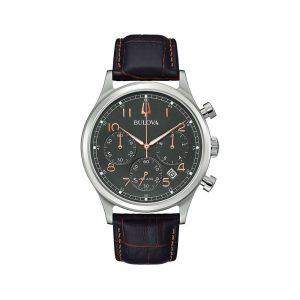 Bulova Orologio Uomo Cronografo con Cinturino in Pelle 96B356